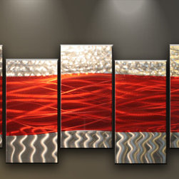 Matthew's Art Gallery - Metal Wall Art Abstract Sculpture 5 panels Red Silver Waves - Name: Red Silver Waves