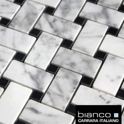 $11.75SF Carrara Bianco Basketweave Honed Marble Mosaic Tile - Carrara Bianco is an exclusive natural stone marble collection for Builders Depot Direct. Bianco Carrara is a collection of premium marble mosaics, field tiles and accessories rivaling that of brand name premium Carrara products offered by specialty tiles stores for a fraction of the cost.