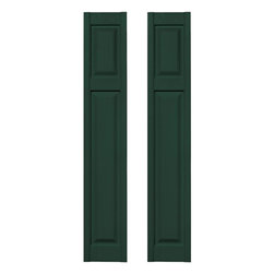 Builders Edge - Cottage Style Raised Panel Shutters in Midnig - Choose Size: 14.75 in. W x 1 in. D x 67 in. H (10.31 lbs.)Color matching Shutter-LOK fasteners included. Constructed with color molded-through vinyl so they will not scratch, flake, or fade. Durable, maintenance-free U.V. stabilized, deep wood grain texture. Made in the USA
