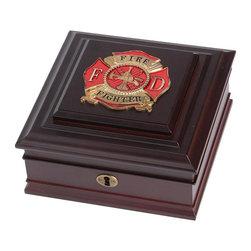 Firefighter Medallion Desktop Box - 8-Inch by 8-Inch First Responder Desktop Box