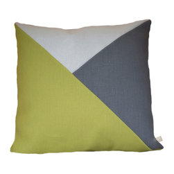 Geometric Color Block Pillow Cover | Citrus Green + Steel Gray + White/Silver Me - Geometric Color Block | Citrus Green + Steel Gray + White/Silver Metallic Linen Pillow Cover