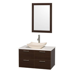"Wyndham - Amare 36"" Wall Vanity Set in Espresso with White Stone Top & Ivory Marble Sink - Modern clean lines and a truly elegant design aesthetic meet affordability in the Wyndham Collection Amare Vanity. Available with green glass or pure white man-made stone counters, and featuring soft close door hinges and drawer glides, you'll never hear a noisy door again! Meticulously finished with brushed Chrome hardware, the attention to detail on this elegant contemporary vanity is unrivalled.; Constructed of beautiful veneers over the highest grade MDF, engineered for durability, and to prevent warping and last a lifetime; 8-stage preparation, veneering and finishing process; Highly water-resistant low V.O.C. sealed finish; Unique and striking contemporary design; Modern Wall-Mount Design; Deep Doweled Drawers; Fully-extending soft-close drawer slides; Counter options include Green Glass, White Man-Made Stone, and Caesarstone (many colors available); Single-hole faucet mount; Available with Porcelain, Granite, and Marble vessel sink(s); Single-hole faucet mount; Faucet(s) not included; Mirror included; Metal exterior hardware with brushed chrome finish; Two (2) functional doors; Two (2) functional Drawers; Plenty of storage space; Includes drain assemblies and P-traps for easy assembly; Minimal assembly required; Weight: 200 lbs; Dimensions: Vanity: 36""W x 21-1/2""D x 20-1/4""H Sink adds 5 to 5 1/2"" to height; Mirror(s): 35""L x 26""D x 3""H"
