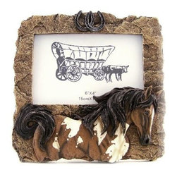 """PS - 7.5 Inch Rock Design with Pinto Horse Collectible 4 x 6"""" Photo Frame - This gorgeous 7.5 Inch Rock Design with Pinto Horse Collectible 4 x 6"""" Photo Frame has the finest details and highest quality you will find anywhere! 7.5 Inch Rock Design with Pinto Horse Collectible 4 x 6"""" Photo Frame is truly remarkable."""