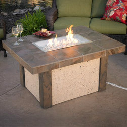 Rivers Edge Fire Pit Table w/ Rectangle Burner - Add a dash of elegance and grandeur to your backyard with the Rivers Edge Fire Pit Table w/ Rectangle Burner. -Mantels Direct