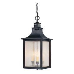 Karyl Pierce Paxton - Karyl Pierce Paxton 5-256-25 Monte Grande Transitional Outdoor Hanging Light - Our extremely popular Monte Grande design is now available in this new Slate finish with Pale Cream Seeded glass.