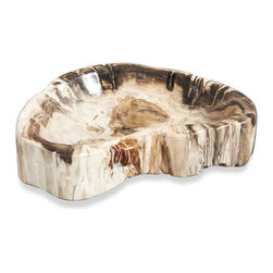 Kathy Kuo Home - Modern Mataram Natural Polished Petrified Wood Bowl- Medium - Everything (really) old is new again!  If earthy elegance is your signature style, this petrified wood bowl is the perfect piece for just about any room.  Whether used to display items, or simply to be admired on it's own, a sleek organic look is guaranteed.