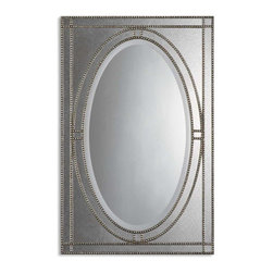 "Uttermost - Uttermost Earnestine Antique Silver Mirror 08055 B - Heavily antiqued silver champagne finish over beaded framework with a dark gray glaze and antiqued side mirrors. Center mirror has a generous 1 1/4"" bevel. May be hung either horizontal or vertical."