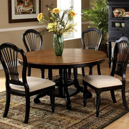 Hillsdale Furniture - Wilshire 5 Pc Dining Set w Round Table, Uphol - Bring an element of country inspired charm to your dining decor with the warm, welcoming set, featuring a cottage look that is both casual and comfortable. The set includes a pedestal style round table and four side chairs with upholstered seat and is made of wood in your choice of finish options. Set includes Table and 4 Wilshire Side Chairs. Country accented details. Blend of cottage styling. Pictured in Rubbed Black. Available in various colors. Table: 56 in. Dia. x 30 in. H. With 18 in. Leaf: 56 in. W x 74 in. L x 30 in. H. Chair: 22 in. W x 23.5 in. D x 43 in. HThe Wilshire collection features a blend of cottage styling with country accented details. The blend of Americana and English country gives the Wilshire collection a look and feel that will enhance any home. The craftsmanship is evident in each piece. Opening a drawer is a reflection of old world craftsmanship, complete with tongue and groove drawer bottoms, English dovetail drawer construction and thick solid wood drawers. Finishes have been painstakingly applied to give years of enjoyment.