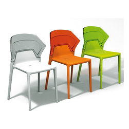 Ego-S Chair (set of 4) by Plastix / Papatya - This style-forward modern chair looks great from every angle and that isn't often said about plastic chairs. With an interesting shape and appealing color combinations, the Ego S Chair is easy to fall for.
