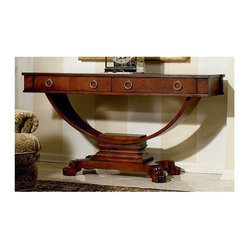 Hekman Furniture - Repertory Console Table - Two drawers. Warranty: One year. Made from alder solids with cherry and walnut burl veneers. Repertory finish. 60 in. W x 20 in. D x 32 in. H