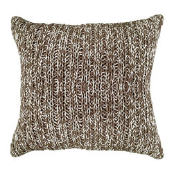BrandWave - Variegated Cable Knit Pillow, Brown - The variegated cable knit pillow is hand-knit from 100% soft cotton. Layers perfectly with our solid cable knit pillows, and also coordinates with the solid cable knit throws.
