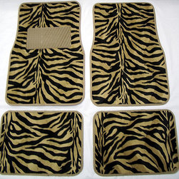None - Front and Rear Tan Zebra Floor Mats - Tan leopard print floor mats will brighten your car's interiorUniversal floor mats feature anti-fading colorsNon-skid backing ensures the mat won't slide