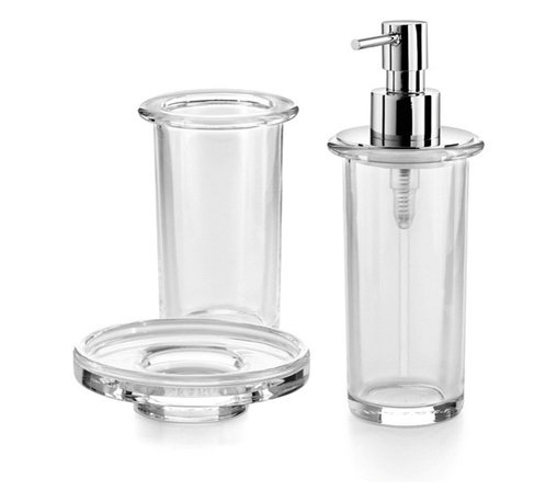 WS Bath Collections - Saon Bathroom Accessory Set in Clear Glass - Includes soap dish, tumbler and soap dispenser. Made by Lineabeta of Italy. Product Material: Glass. Finish/Color: Clear