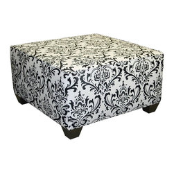 Skyline Furniture - 18 in. Square Cocktail Ottoman w Cotton Uphol - Hand made. Guarantees product from manufacturer's defects but does not include fabric. One year limited warranty. Made from solid wood. 31 in. L x 31 in. W x 18 in. HThis square cocktail ottoman is a wonderful addition to your living room. It can serve as a coffee table or foot rest.