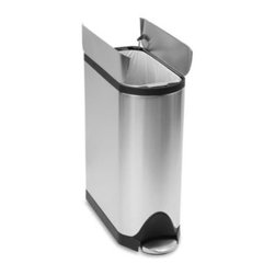 Simplehuman - simplehuman 45-Liter Butterfly Brushed Stainless Steel Step Trash Can - Our fingerprint-proof butterfly step can has an innovative butterfly lid design that opens from the center for maximum efficiency and clearance under low countertops.