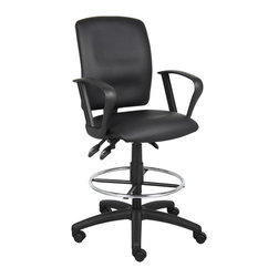 """Boss Chairs - Boss Chairs Boss Multi-Function LeatherPlus Drafting Stool with Loop Arms - Upholstered in black Leather plus. Back angle lock allows the back to lock throughout the angle range for perfect back support. Seat tilt lock allows the seat to lock throughout the tilt range. Pneumatic gas lift seat height adjustment. Nylon base. Hooded double wheel casters. Loop arms. 20"""" diameter chrome footring."""