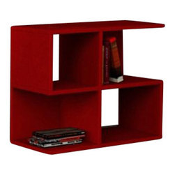 Matte / Decortie - AARON MINI BOOKCASE / TABLE, Red - Oozing modern appeal, this is a fabulous unit for a contemporary interior. With four boxed shelving units to display your books, literature, art and decorative accessories, this is a stylish, but simple and understated piece. Finished in white, wenge, red.