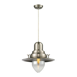Elk Lighting - Elk Lighting Wilton Station Collection 1 Light Pendant In Brushed Nickel - 55009 - 1 Light Pendant In Brushed Nickel - 55009/1 in the Wilton Station collection by Elk Lighting With historic charm, the Wilton Station pendant is similar to those found at historic railroad stations. The Brushed Nickel finish updates the style for use in a variety of modern decors.  Pendant (1)