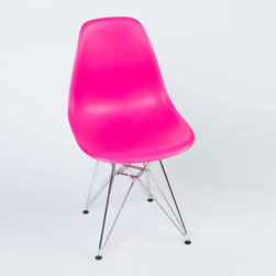 Eiffel Slope Chair in Fuchsia - Our Eiffel Slope Chair is inspired by an iconic design of the 1950s and 1960s. The original was born out of technological advancements that allowed a chair to be constructed out of a single mold of fiberglass. With the original mold no longer in production, today's designers have improved this process even further, resulting in a comfortable, stylish, lightweight chair. Replacing fiberglass with more eco-friendly polypropylene, the current iteration is as innovative as it is timeless. The base is made of chromed steel and resembles the structure of the famed Eiffel Tower. Our Eiffel Slope Chair takes this incredible design and makes it accessible and modern, featuring a smooth polypropylene seat that contours to your body. This chair is also one of our most versatile pieces, fitting in at the dinner table, conference table, or anywhere else you're looking to add some seating.