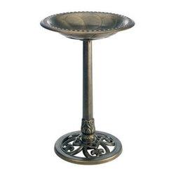 Gardman USA - Pedestal Bird Bath Bronze - Pedestal Bird Bath Bronze