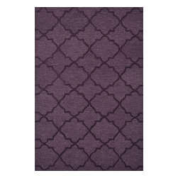 """Loloi Rugs - Loloi Rugs Circa Collection - Plum, 3'-6"""" x 5'-6"""" - The hand-tufted Circa Collection from China breathes new life into out of date interiors with a series of simple, tonal designs. Available in a range of sophisticated neutral hues and bright colors, these 100% polyester rugs from China have just a hint of shimmer for a polished finish that earns notice without overbearing the room."""