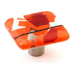 "Windborne Studios - Confetti Glass Knobs and Pulls, Orange, 1.5"" Square - The colorful Confetti Collection is uniquely playful using shards of thin glass randomly placed to create a multi dimensional illusion."