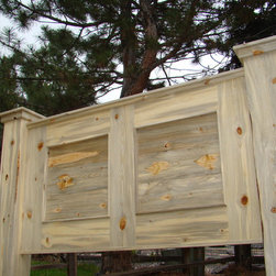 Beetle Kill Panel Headboard - We made this headboard from trees that were cut down due to pine beetle infestation. There are millions of these already dead trees available for use in furniture making.  They make a unique and very environmentally friendly product.  We can custom make headboards, footboards and bedframes for any size bed, and to suit many styles.