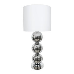 "Van Teal - Contemporary Van Teal Triple Run Chrome And White Linen Table Lamp - A contemporary classic the Triple Run table lamp features three stacked spheres in a brilliant chrome finish. Both the pedestal base and the sleek white linen drum shade reiterate the curved line concept with their beautifully modern round forms. A perfect answer to your console or nightstand lighting needs. Chrome finish. White linen hard back shade. Takes two 75-watt medium base bulbs (not included). 36"" high. Shade is 16"" round 13"" high.  Chrome finish.  Design from the Van Teal collection of lighting.  White linen hard back shade.  Tall table lamp design.  Takes two 75-watt medium base bulbs (not included).  36"" high.  Shade is 16"" round 13"" high."