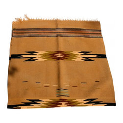 Saddle Blanket - Pretty and bright southwestern saddle blanket or Chimayo rug.  Beautiful soft medium beige, with accents of sage green, black and turquoise.  A small areas of fraying on one corner but the rug is solid, tight woven, wool, with no holes or stains.