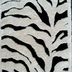 Rug Factory - Shaggy Design Zebra shag 5' x 7' Size Area Rug - Shaggy design Zebra shag 5' x 7' size area rug. These shags offer a dense, shed free, easy to clean and sensuously soft surface that is sure to be a toe curling pleaser. Vibrant colors, geometric patterns and designs. are hand tufted using a blend of ultra fine raw materials for a plush and soft feel.