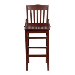 """FlashFurniture - Hercules Series Mahogany Finished School House Back Wooden Restaurant Bar Stool - Features: -Heavy duty restaurant bar stool. -Mahogany wood finish. -Plastic floor glides. -1"""" Thick beech wood seat. -Mortise and tenon style construction with metal wood screw reinforcements. -School house style back. -Two curved support bars. -Foot rest rung. -Assembly required. -Designed for Commercial Use; Suitable for Home Use. Specifications: -Seat height: 17"""" W x 15.75"""" D. -Back height: 15.75"""" W x 15.75"""" H. -Overall dimensions: 44"""" H x 18.5"""" W x 18.75"""" D."""