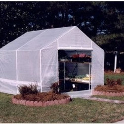 King Canopy 10 x 10 ft. Portable Greenhouse - Additional information:Peak height: 8 feetSidewall height: 5.16 feetCanopy color: white An excellent buy for the Greenhouse enthusiast the King Canopy 10 x 10-foot Portable Greenhouse is durable with it's 1.37-inch galvanized steel frame and bottom rails which provide exceptional stability against the elements. The Greenhouse has a one-piece rip-stop polyethylene cover that is UV protected for three years. The cover also has a zipperd door and rear vent for ventilation.The Silver Bikini Cover is not included and may be purchased separately.