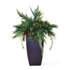 30 in. Estate Pre-Lit LED Arrangement with Container - Battery Powered