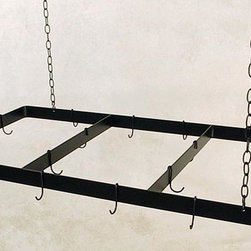 Grace Collection - Rectangular Butcher's Pot Rack (Aged Iron) - Finish: Aged IronHanging type. Made from wrought iron. Rectangular shape. Brown color. 48 in. L x 24 in. W x 2.5 in. H. Includes four hanging chain, ceiling mounting hardware and 18 matching pot hooks. Made in USA. 3 ft. long chains and heavy duty ceiling hooks for ceilings up to 11 ft.. 10 gauge hanging chain. 0.19 in. hanging hooks cold rolled steelThese pot racks have heavy weight support straps and use high grade steel everywhere.