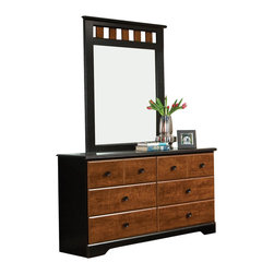 Standard Furniture - Standard Furniture Steel wood 54 Inch Dresser in Oak and  Cherry - Steel wood Features a traditional yet timeless look that is sure to engage your room with innovative style. Wood products with simulated wood grain laminates. Group may contain some plastic parts. French dovetail. Roller side drawer guides. Wood knob in black color finish. Vinza oak and Madison cherry color finish. Surfaces clean easily with a soft cloth.