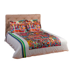 """ARTnBED - Duvet Cover """"Hindley Street, White, Full/Queen - Action, atmosphere and nightlife - Hindley street is the place where things happen in Adelaide, Australia. There is something for everyone, and it is all here on this dynamic duvet cover with a large digital print of the painting """"Hindley Street"""" by the artist Marie Jonsson-Harrison. Colorful and full of life - Marie paints everything she sees in her vibrant, not-to-be missed style. With this duvet in your bedroom, you'll wake with a smile every morning."""