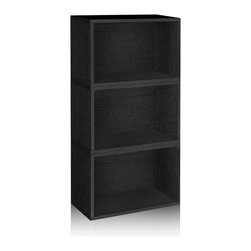 Way Basics - Stackable Hillcrest Modular Storage, Black - The Hillcrest Modular Organizer is the perfect combination of three of our Rectangle cubes. Its simplistic three shelf design ensures you have maximum organizational space, while maintaining a classic look that will complement and adorn any room in your home or office.