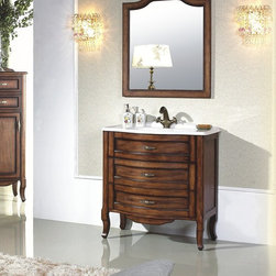 "Calvario Antique Style Single Sink Vanity 31.2"" - The Calvario is an oak solid wood, hand carved, Antique Style bathroom Vanity set. Top quality luxurious antique bathroom vanity set including beautiful thick marble top and elegant matching framed mirror. This beautiful Antique Bathroom Vanity is ideal for any size bathroom. Its unique style captivates its extraordinary elegant feel. Carved by hand from solid oak wood that has been seasoned for many years to ensure durability and longevity. This antique bathroom vanity wooden cabinets depicts exquisite details and unique craftsmanship. Each wooden cabinet is coated to perfection as a result a of multi-process seven-layer top paint finish. Look no further for you antique bathroom vanity, Calvario has it all!"