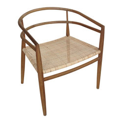 """Noir - Noir Finley Chair Teak Rattan - Bold form wraps the chic Noir Finley chair with striking style. Presenting a curved modern frame, its beige rattan seat invites classic sophistication. 26.5""""W x 24""""D x 29.5""""H; Teak"""