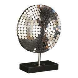 Howard Elliott - Mirrored Disk Sculpture - This contemporary stainless steel sculpture features a mosaic of mirrored discs. It is set on a black marble base.