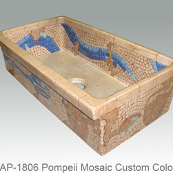 """Custom 36"""" fireclay hand painted sink - This hand painted Pompeii Mosaic was done for a customer in custom colors. This is a 36"""" fireclay sink - easily the most popular size these days. You can get virtually any design on this sink, just ask! We will quote custom designs quickly for you."""