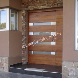 Modern contemporary entry doors - Contemporary solid wood entry door with stainless steel plaques and horizontal windows