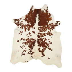 """Safavieh - Animal Inspirations Cow Hide 4'6""""x6'6"""" Rectangle Brown-White Area Rug - The Cow Hide area rug Collection offers an affordable assortment of Animal Inspirations stylings. Cow Hide features a blend of natural Brown-White color. Handmade of Leather the Cow Hide Collection is an intriguing compliment to any decor."""