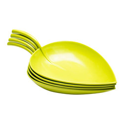 Scoop Leaf Plates - Set of 4 - We�re not sure why food tends to taste more delectable when served on these leafy melamine plates. With its organic shape, the stem on each plate allows for easy holding and carrying. Perfect for tamales nights, backyard BBQs, and more, these plates conveniently stack for storage.