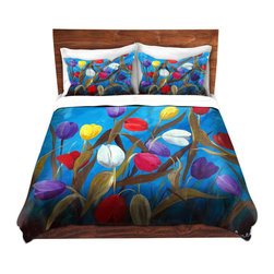 DiaNoche Designs - Duvet Cover Microfiber - Tulips Galore II - Super lightweight and extremely soft Premium Microfiber Duvet Cover in sizes Twin, Queen, King.  This duvet is designed to wash upon arrival for maximum softness.   Each duvet starts by looming the fabric and cutting to the size ordered.  The Image is printed and your Duvet Cover is meticulously sewn together with ties in each corner and a hidden zip closure.  All in the USA!!  Poly top with a Cotton Poly underside.  Dye Sublimation printing permanently adheres the ink to the material for long life and durability. Printed top, cream colored bottom, Machine Washable, Product may vary slightly from image.