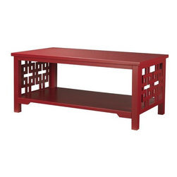 Knot Coffee Table, Red - This is a great budget-friendly piece with classic fretwork panels.