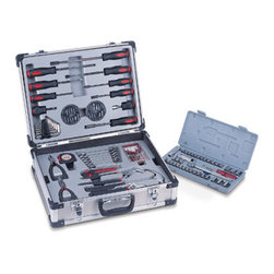 Picnic Time - 101-Piece Tool Kit - Black with Orange - The 101-piece Tool Kit is top quality tool set featuring a comprehensive array of commonly used tools in an attractive and durable aluminum case. It has a unique inner molded tray design that lifts out of the case to reveal a complete 39-piece SAE and metric socket wrench set in its own plastic molded case. The 101-piece Tool Kit has you covered for all your home repair and building needs.
