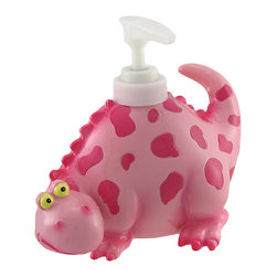 n/a - Children's Pink Dinosaur Liquid Soap Dispenser - This darling dino adds a decorative accent to your sink that kids will love. Crafted from cold cast resin, it measures 5 inches tall, 5 1/2 inches long, and 4 1/4 inches wide. The hollow body stores the soap, while a spring-action plastic pump makes pumping the soap effortless. Make hand washing less of a chore with this cute, spotted dinosaur soap dispenser.