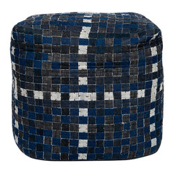 """Surya - Surya Squares Blue/Gray Pouf - The Surya Squares pouf stands with geometric modernity. In rich shades of blue and gray, the square ottoman's checked pattern exudes retro texture. 18""""W x 18""""D x 18""""H; 100% cotton"""