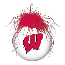 Wisconsin Badgers Glass Ball Ornament - Wisconsin Badgers Glass Ball Ornament features white ball with team logo adorned with red feather top.